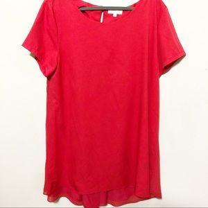 Umgee Red Short Sleeve Hi-Lo Dress Sz 1XL